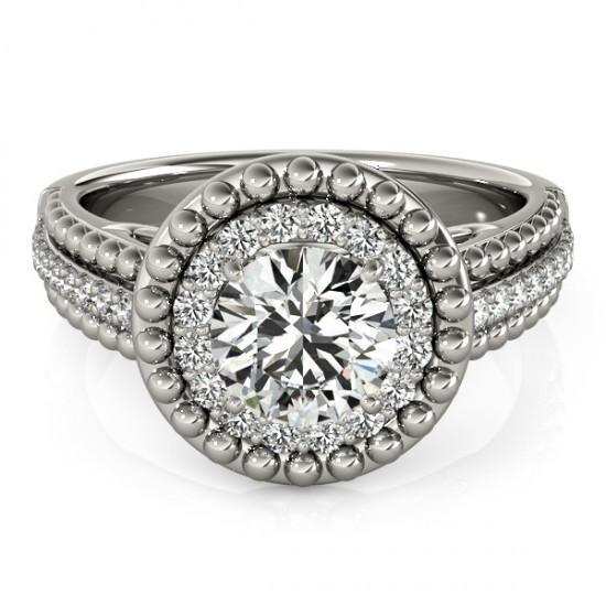 Halo Ring Diamond Antique Style Engagement Ring 2 Carats White Gold 14K