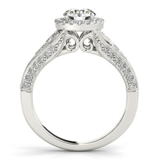 Sparkling 1.25 Carats Round Diamonds Engagement Ring Halo White Gold 14K Halo Ring