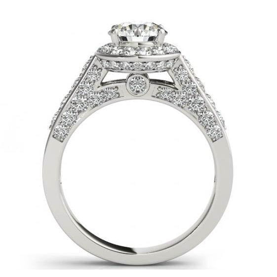 Solid White Gold 14K Round Diamonds 1.75 Carats Engagement Halo Ring Jewelry