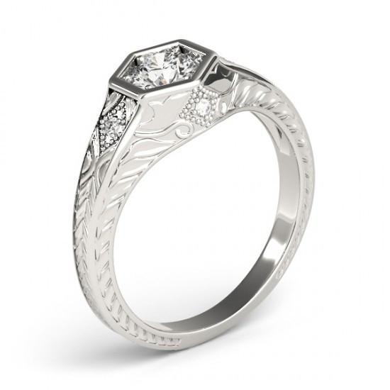 Engagement Ring 1.50 Carats Diamond Engagement Ring Antique Style White Gold 14K Hand Engraved