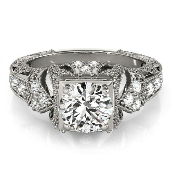 1.50 Carat Solitaire With Accents Diamonds Lady Men Engagement Ring