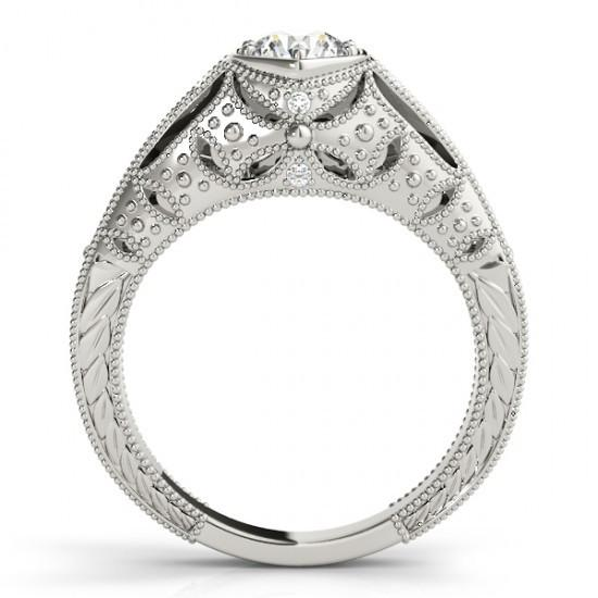 1.25 Ct. Diamonds Solitaire With Accents Engraved Ring White Gold 14K