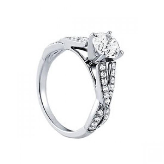 1.35 Ct. Round Diamonds Solitaire With Accents Ring White Gold 14K