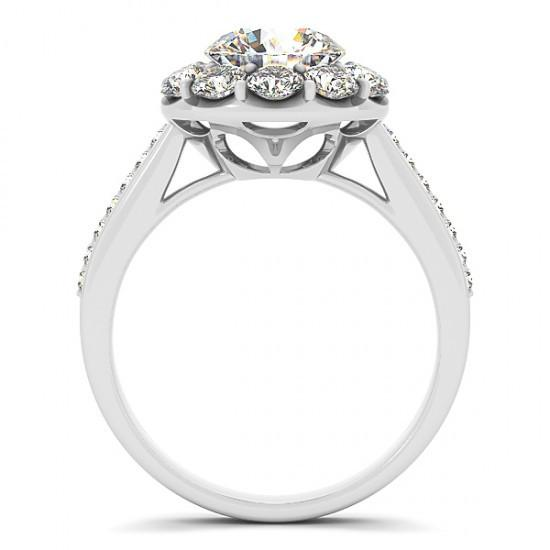 Round Brilliant Diamonds 2.75 Carats Solitaire With Accents Halo Ring Gold 14K