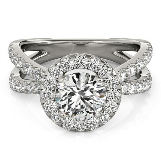 Halo Ring Diamond Engagement Halo Ring 2.50 Carats Split Shank White Gold 14K
