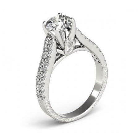 Solitaire Ring with Accents 1.50 Carats Round Brilliant Diamonds White Gold 14K Fancy Ring Solitaire With Accents