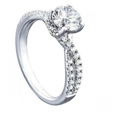 Solitaire Ring with Accents 2.25 Carats Round Diamonds Solitaire With Accents Ring White Gold 14K