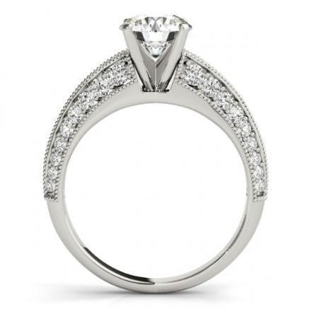 Round Diamonds Engagement Anniversary Solitaire Ring 2.25 Carats Solid White Gold 14K