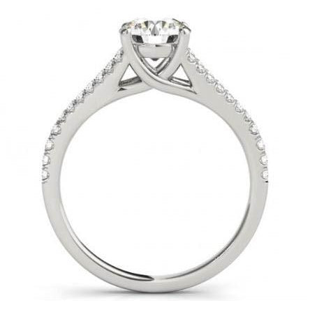 Solitaire With Accents Round Halo Diamonds 1.50 Carats Solitaire Ring White Gold 14K