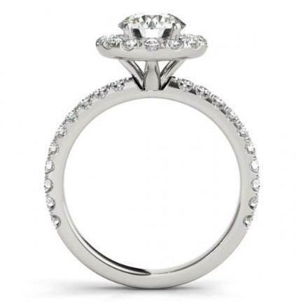 2.00 Carats Round Diamonds Halo Ring Solid Gold 14K