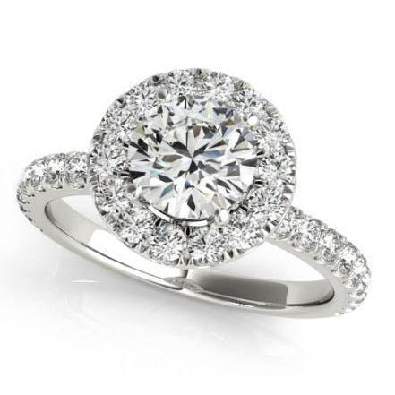 Halo Ring 2.00 Carats Round Diamonds Halo Ring Solid Gold 14K