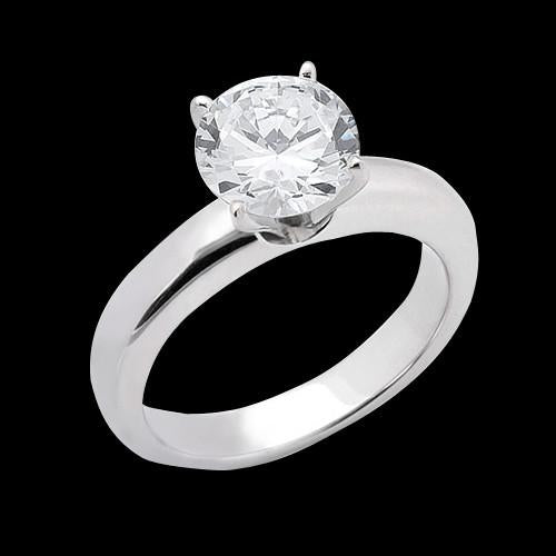 1.51 Carat E Vvs1 Diamond Solitaire Engagement Ring Solid 14K White Gold