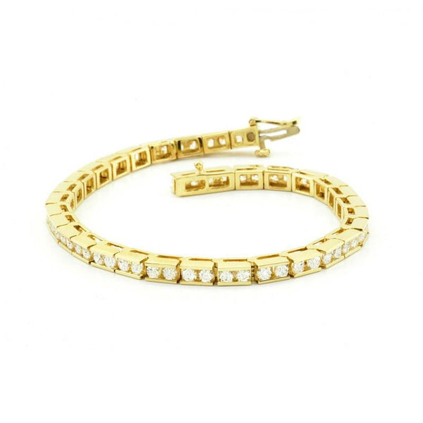 Tennis Bracelet Diamonds Classic Style Tennis Bracelet 3.50 Carats 14K Yellow Gold
