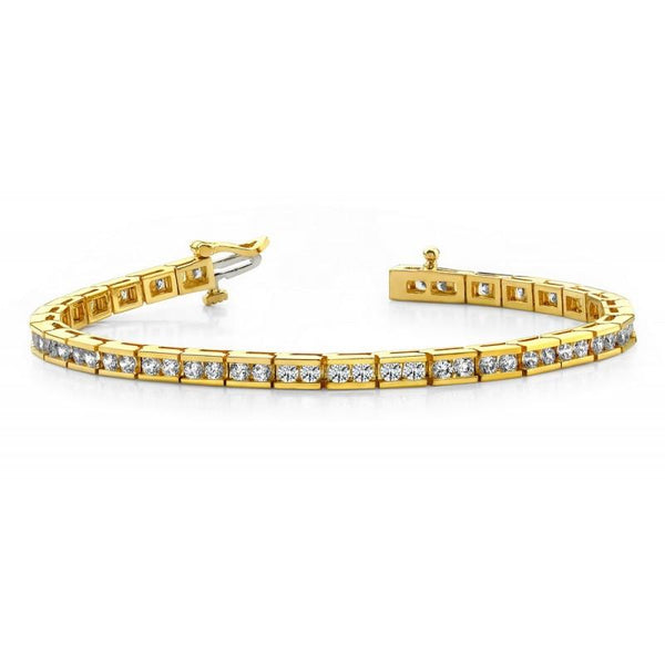 Diamonds Classic Style Tennis Bracelet 3.50 Carats 14K Yellow Gold Tennis Bracelet