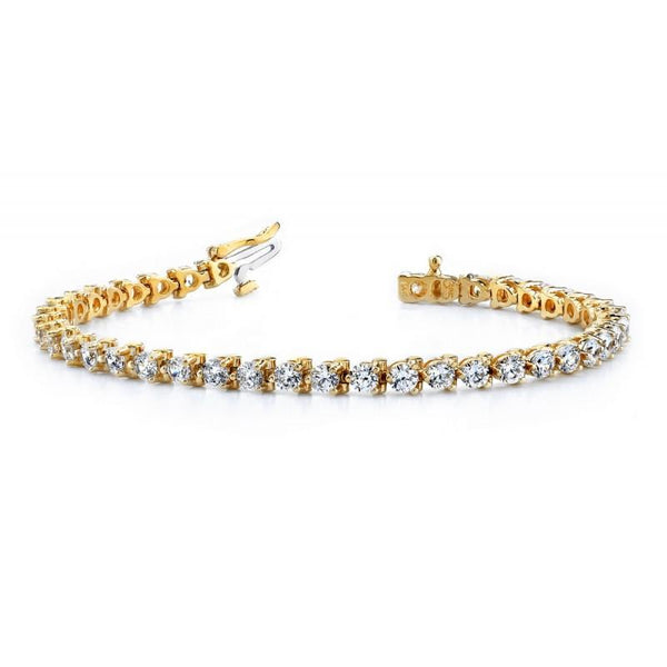 Tennis Bracelet 9 Carats Diamonds Basic Style Yellow Gold Tennis Bracelet