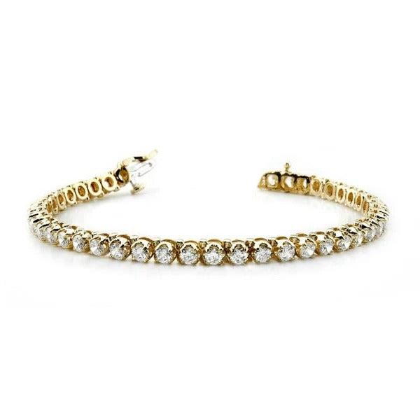 6.45 Carats Prong Set Round Diamonds Tennis Bracelet 14K Yellow Gold