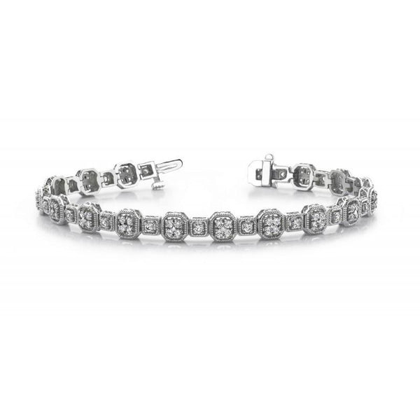 Tennis Bracelet White Gold 14K Jewelry Tennis Bracelet Round Diamonds 5 Carats