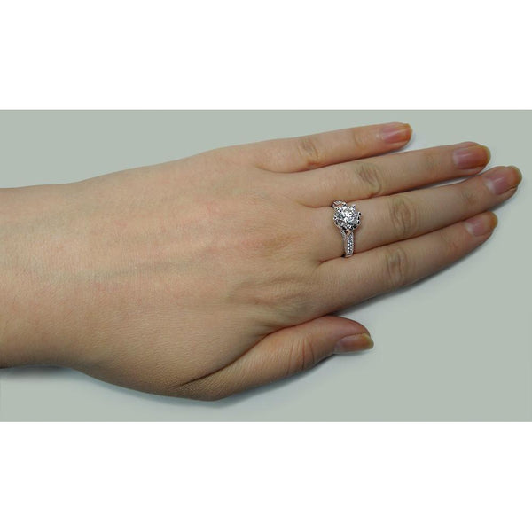 Solitaire Ring with Accents 2.76 Carat Solitaire With Accents Diamond Engagement Ring White Gold 14K