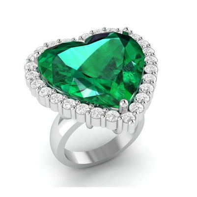 13 Carats Heart Shaped Green Emerald With Diamond Wedding Ring 14K Gemstone Ring