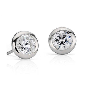 1.3 Ct Bezel Set Solitaire Round Diamond Stud Earring 14K White Gold Stud Earrings