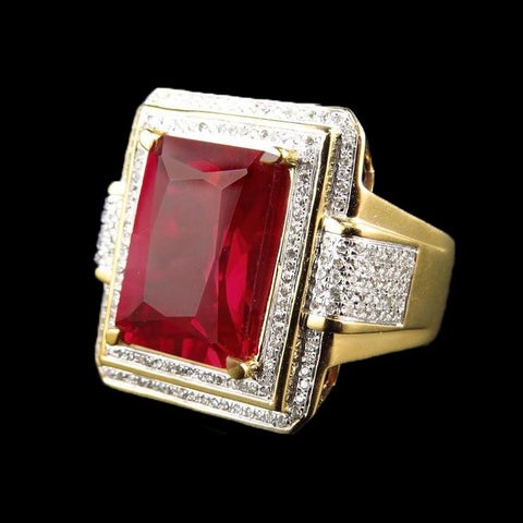 13 Ct Big Emerald Cut Red Aaa Ruby With Diamond Ring Yellow Gold 14K Gemstone Ring