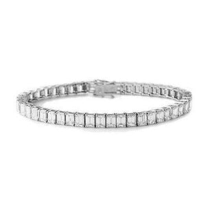 13 Ct Channel Set Emerald Cut Diamond Tennis Bracelet White Gold 14K Tennis Bracelet