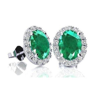 13 Ct Green Oval Cut Emerald With Halo Diamond Stud Earring Gold Gemstone Earring
