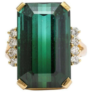 13 Ct Green Tourmaline And Diamond Ring 14K Yellow Gold Gemstone Ring