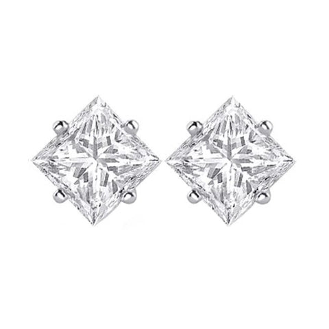1.3 Ct Princess Cut Solitaire Diamond Stud Earring 14K White Gold