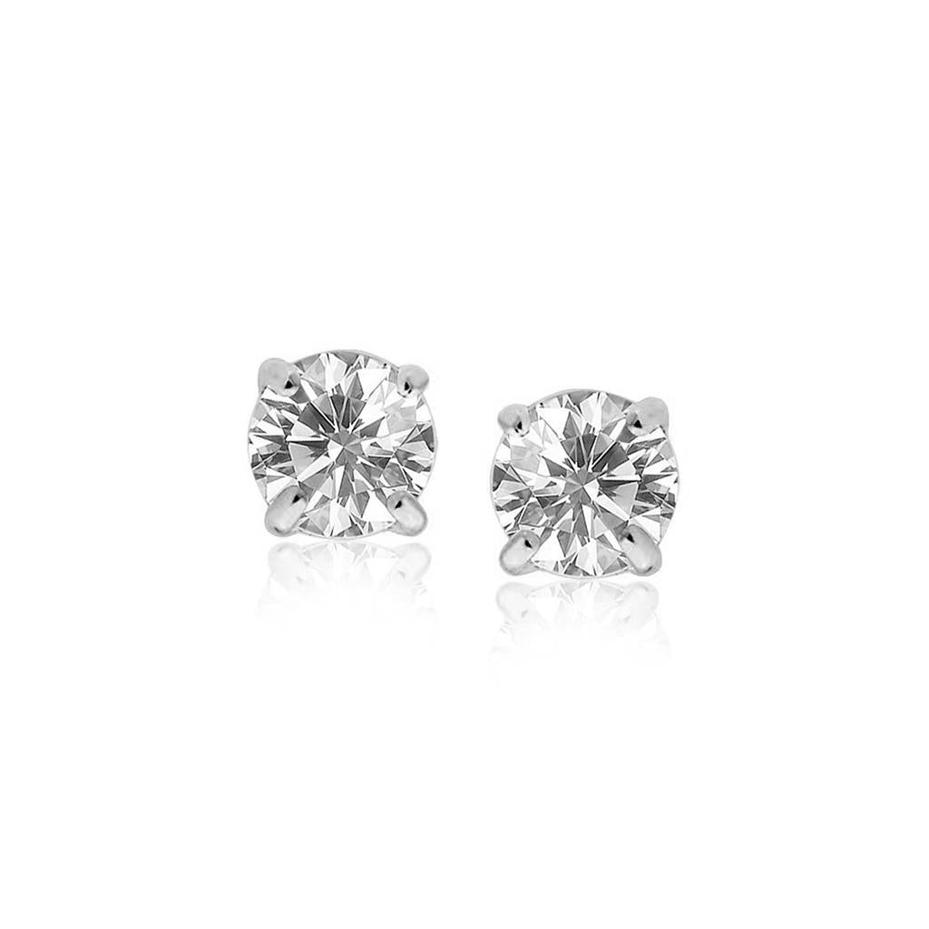 1.3 Ct Prong Set Solitaire Round Diamond Stud Earring 14K White Gold Stud Earrings