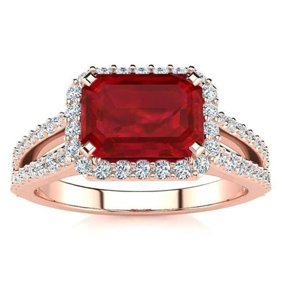 13 Ct Red Ruby Emerald Cut With Diamond Wedding Ring 14K Rose Gold Gemstone Ring