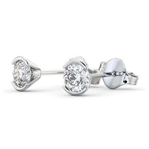 1.3 Ct Round Brilliant Cut Diamond Stud Earring 14K White Gold Stud Earrings
