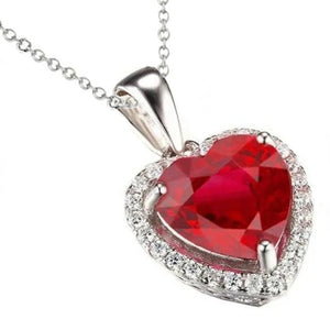 13.25 Ct. Heart Ruby With Round Diamonds Pendant Necklace Wg 14K