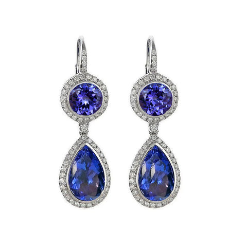 13.76 Carat Tanzanite Dangle Earrings With 14K White Gold