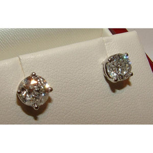 1.30 Ct F Vs1 Round Diamonds White Gold Stud Earring Stud Earrings