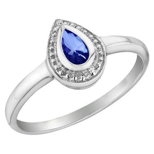 1.31 Ct Ceylon Sapphire Pear Diamonds Wedding Ring Gemstone Ring