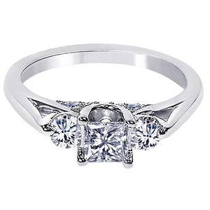 1.35 Carats Princess Diamond Three Stone Style Engagement Ring White Gold 14K Three Stone Ring