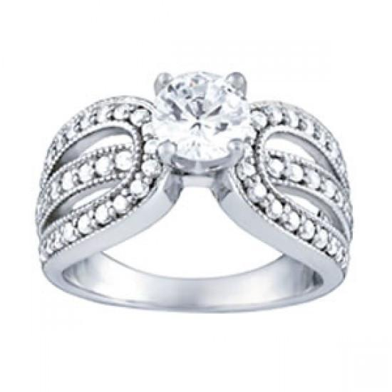 1.35 Carats Round Diamonds Prong Set Engagement Solitaire Ring White Gold 14K Solitaire Ring with Accents