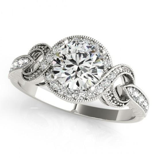 1.35 Carats Round Diamonds Solitaire With White Gold 14K Halo Ring Halo Ring