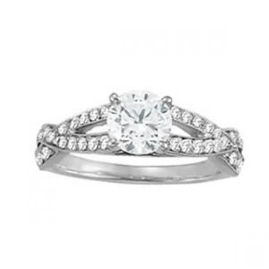 1.35 Ct. Round Diamonds Solitaire With Accents Ring White Gold 14K Solitaire Ring with Accents
