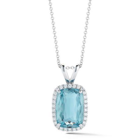 13.50 Ct Aquamarine With Diamonds Pendant With Chain White Gold 14K Gemstone Pendant