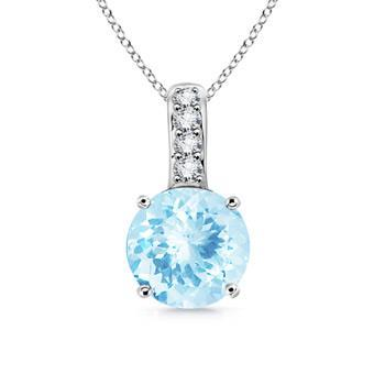 13.50 Ct. Brilliant Cut Aquamarine And Diamonds Pendant White Gold Gemstone Pendant