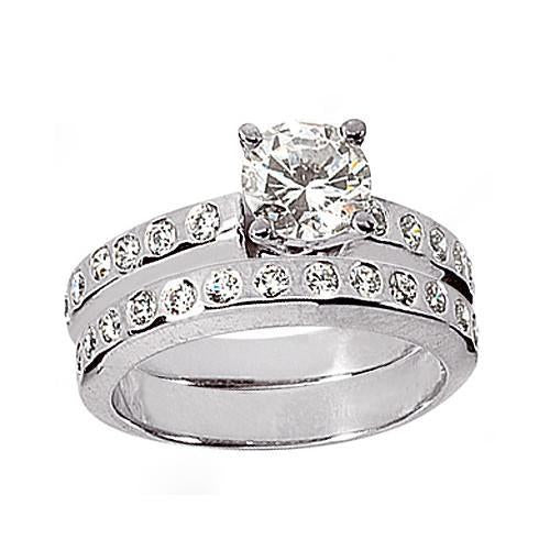 1.36 Ct. Diamond Ring Engagement Band Set White Gold Engagement Ring Set