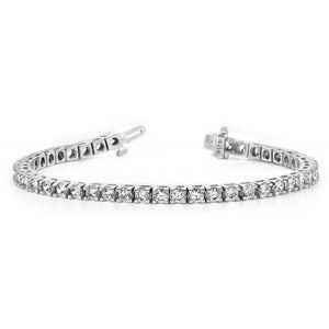 14 Carats F Vvs1 Round Diamond Basic Tennis Bracelet 14K White Gold Tennis Bracelet