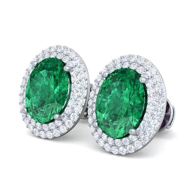 14 Carats Green Emerald And Pave Diamond Stud Halo Earring White Gold Jewelry Gemstone Earring