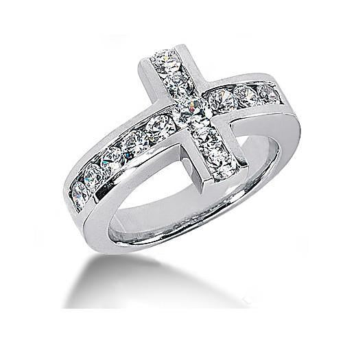 1.4 Ct. Diamonds Cross Shape Engagement Fancy Ring White Gold Engagement Ring