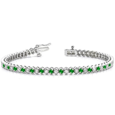 14 Ct Green Round Cut Emerald And Diamond Tennis Bracelet Gemstone Bracelet