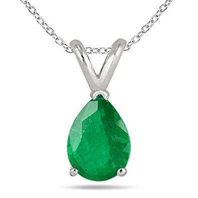 14 Ct Pear Cut Green Emerald Pendant Necklace 14K White Gold Gemstone Pendant