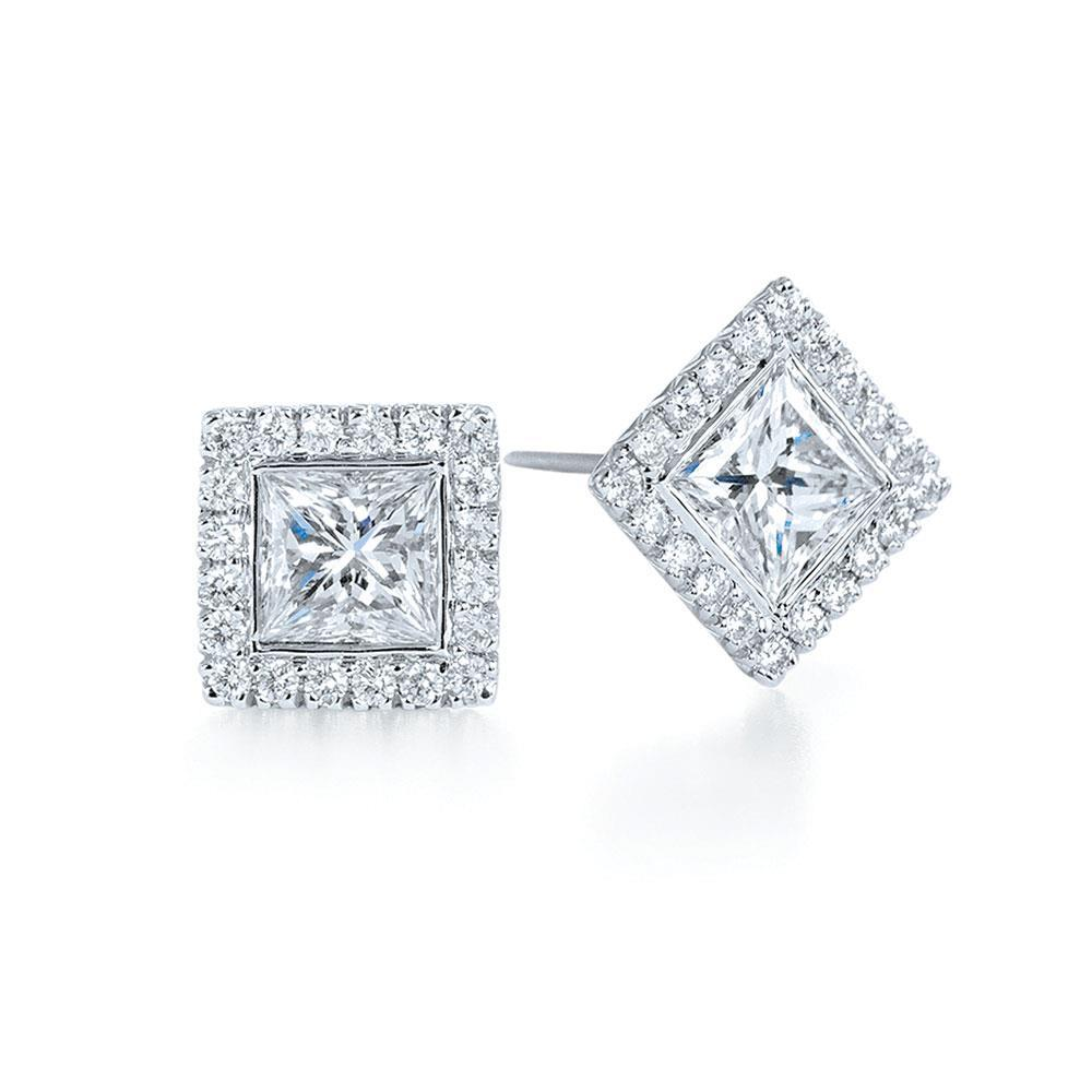 1.4 Ct Princess Cut Diamond Halo Diamond Stud Earrings Halo Stud Earrings