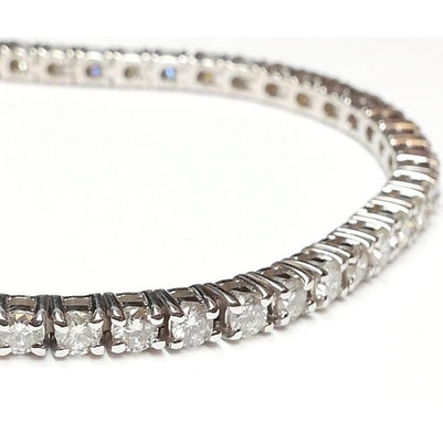 14 Ct Prong Set Round Brilliant Cut Diamond Tennis Bracelet Gold 14K Tennis Bracelet